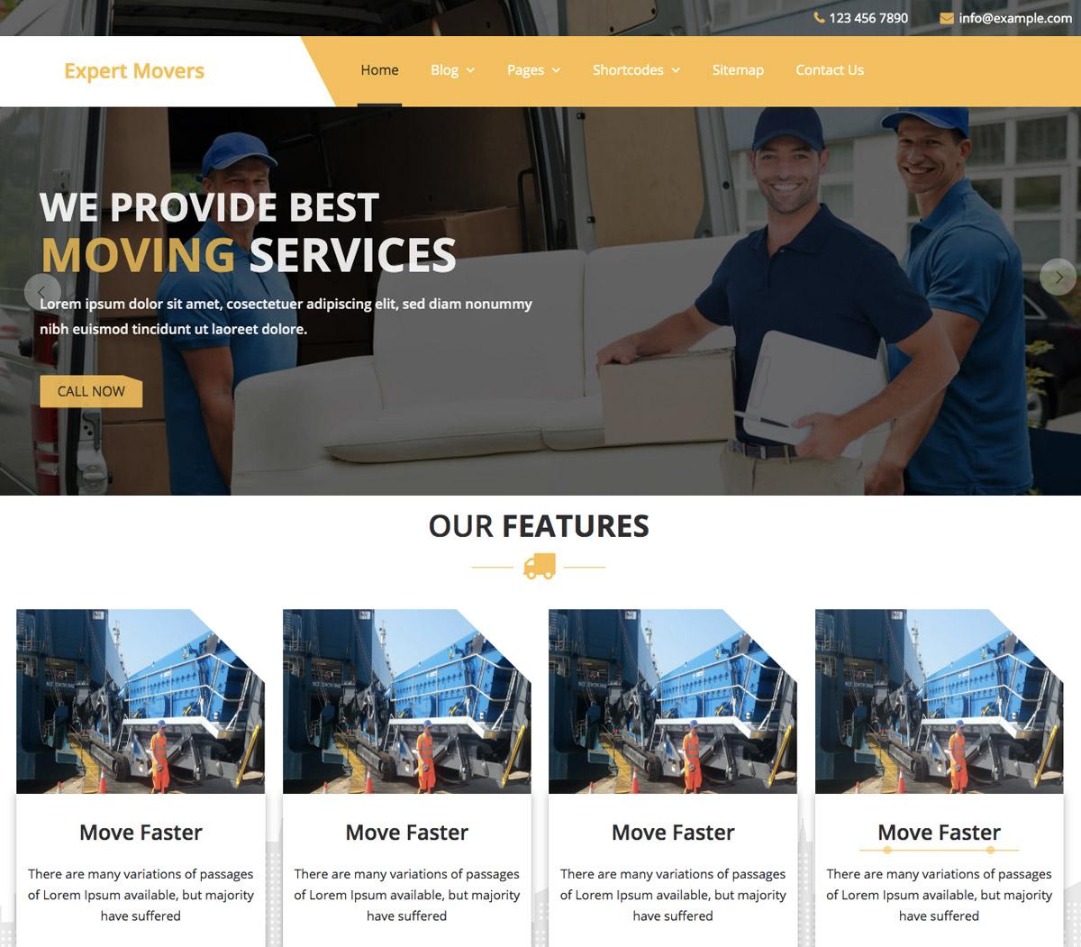 Movers WordPress Theme for Global Logistics Business