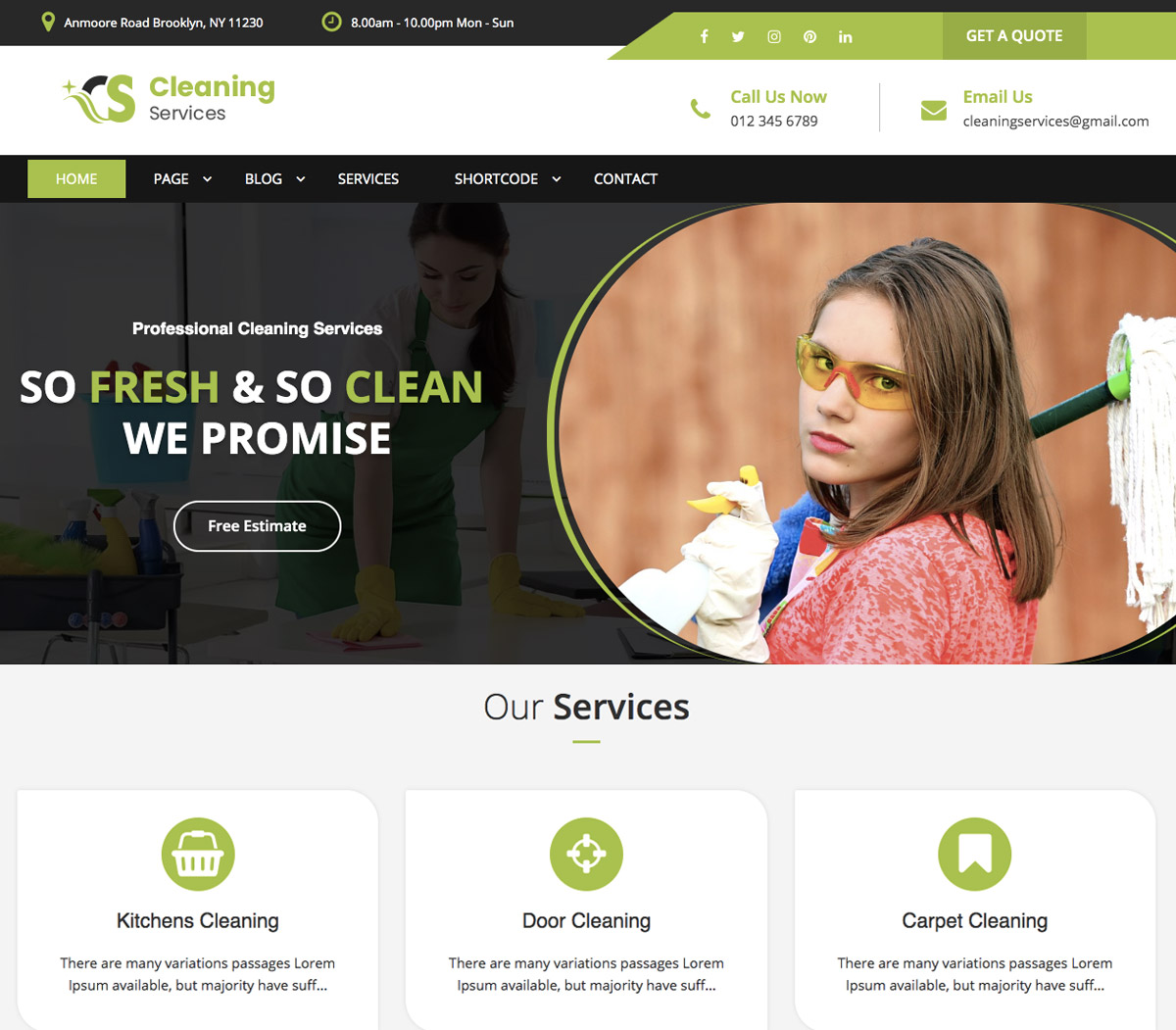 cleaning services premium wordpress theme