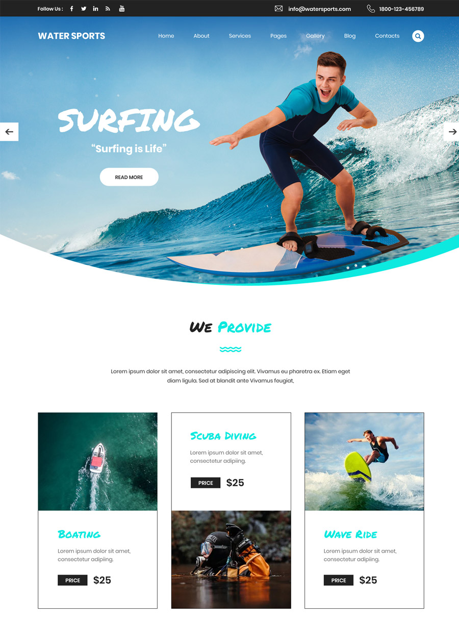 Water Sports Wordpress Theme